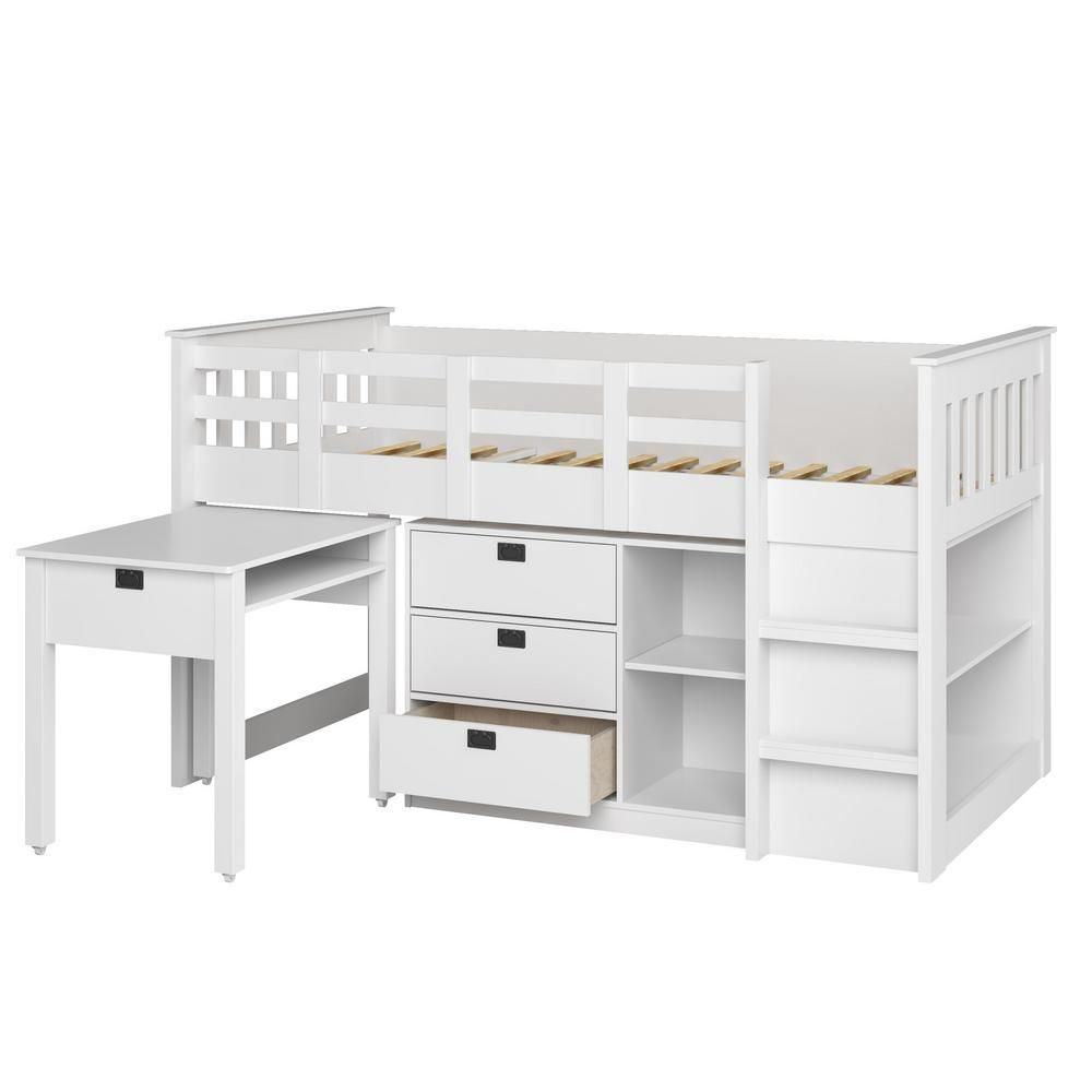 Low loft bed with desk and storage  CorLiving Madison  Piece AllinOne SingleTwin Loft Bed in Snow