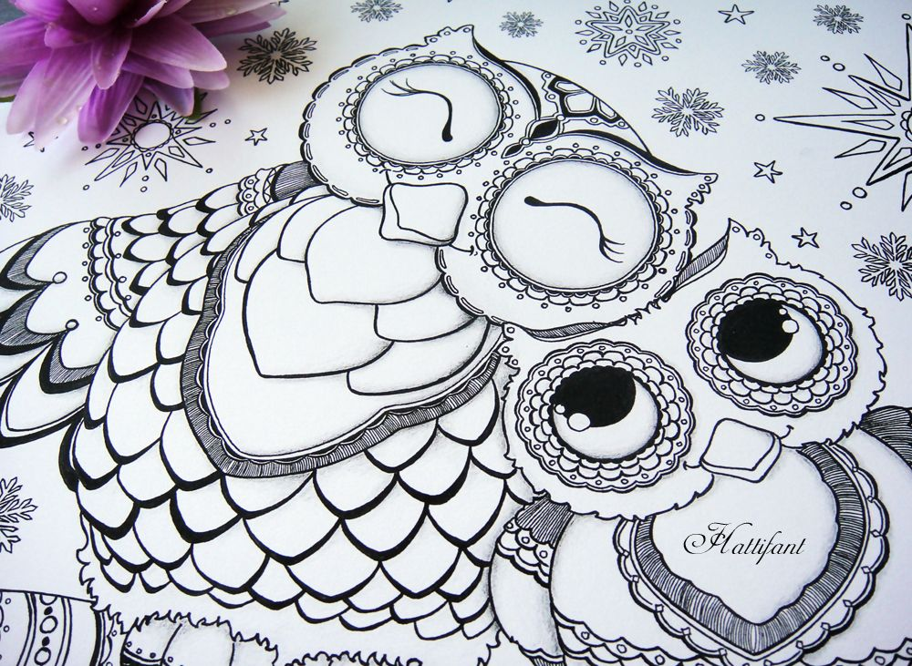 owl colouring pages and printable card 1 - Cute Owl Printable Coloring Pages