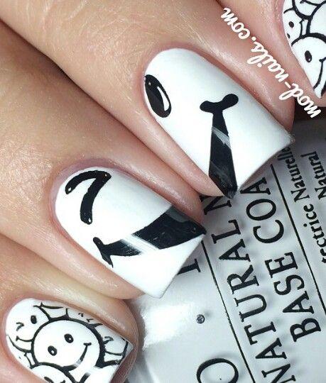 Black And White Smiley Face Nails Nails Pretty Nails Nail Polish