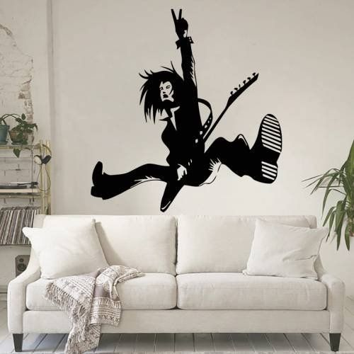 Housewares Vinyl Decal Rock Band Star With Guitar Home Wall Art Decor Removable Stylish Sticker Mural Uniqu Stylish Stickers Wall Stickers Murals Home Wall Art