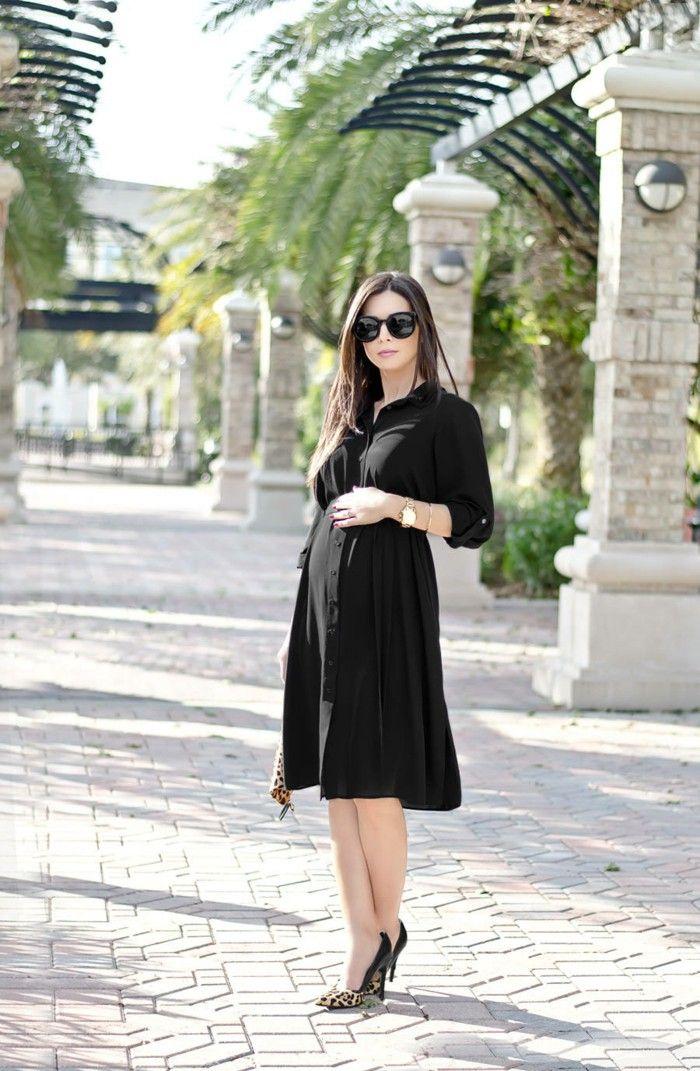 elegant black dress for pregnant