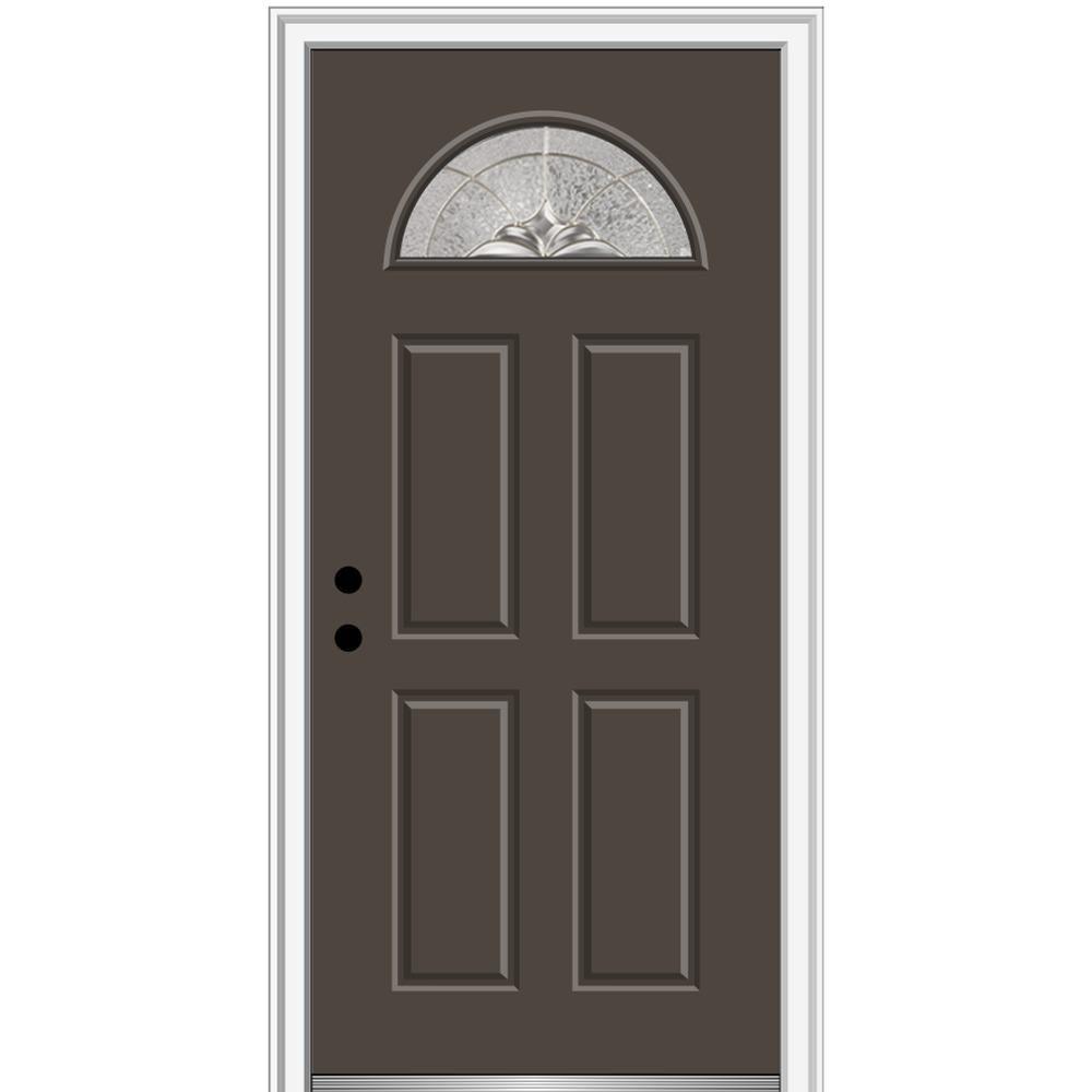 Mmi Door 32 In X 80 In Heirlooms Right Hand Inswing 1 4 Lite Decorative Painted Fiberglass Smooth Prehung Front Door Brown Prehung Doors Entry Doors Classic Doors