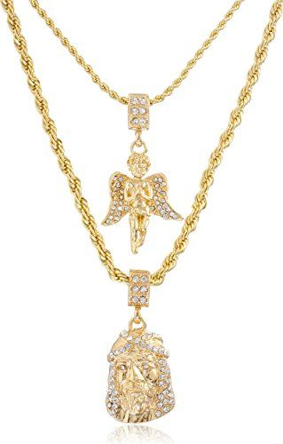 Double Layer Necklace With Iced Out Angel Jesus Pendants 22 28 Inch Rope Chain Necklace Goldtone With Images Gold Chains For Men Gold Chain With Pendant Chain Pendants