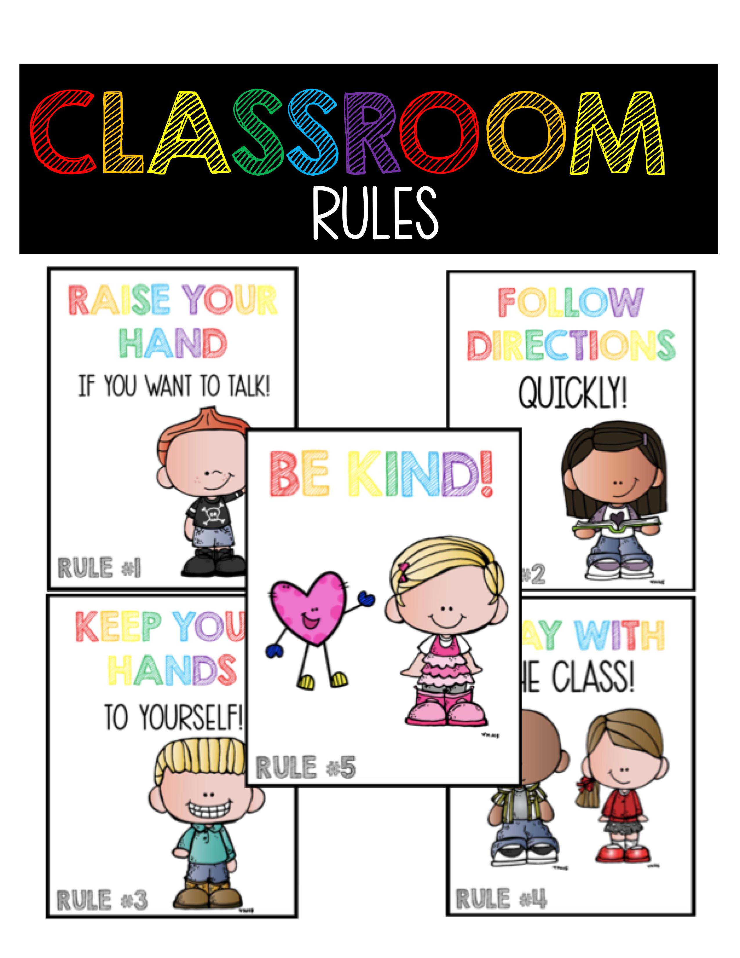 Classroom Rules Posters Classroom Community Kindergarten