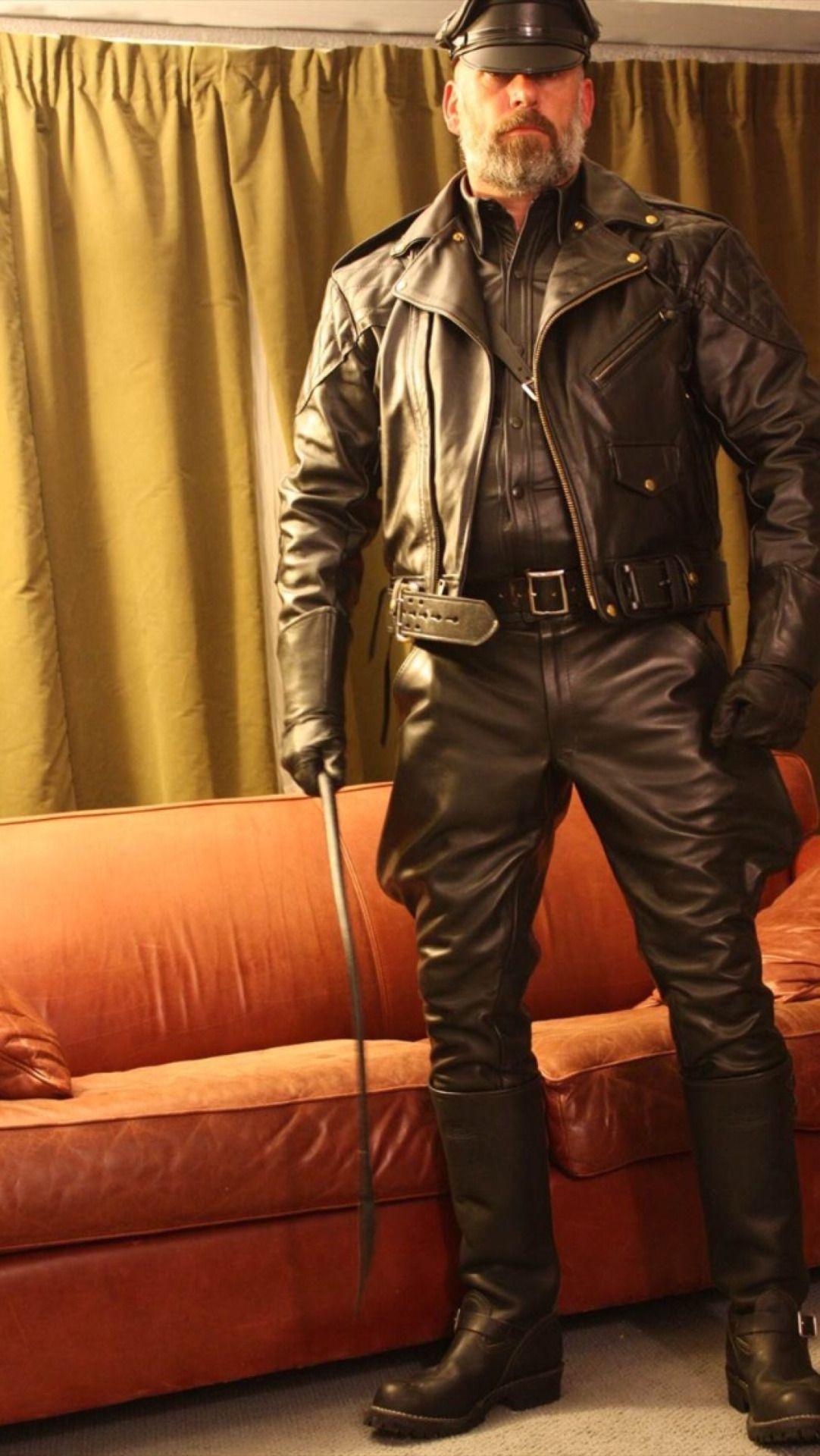 Black leather uniform gloves - Leather Leather Uniform Men