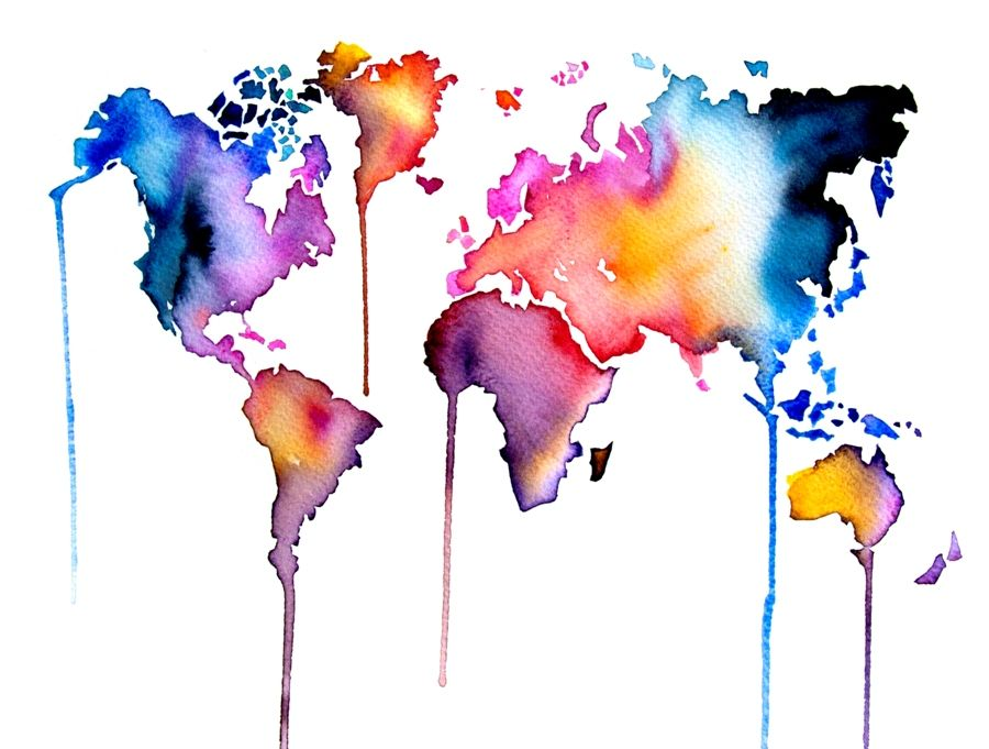 water color on wall - Sök på Google Paint inspiration Pinterest - copy rainbow world map canvas