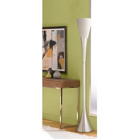 Possini Euro Piazza Brushed Nickel Torchiere Floor Lamp