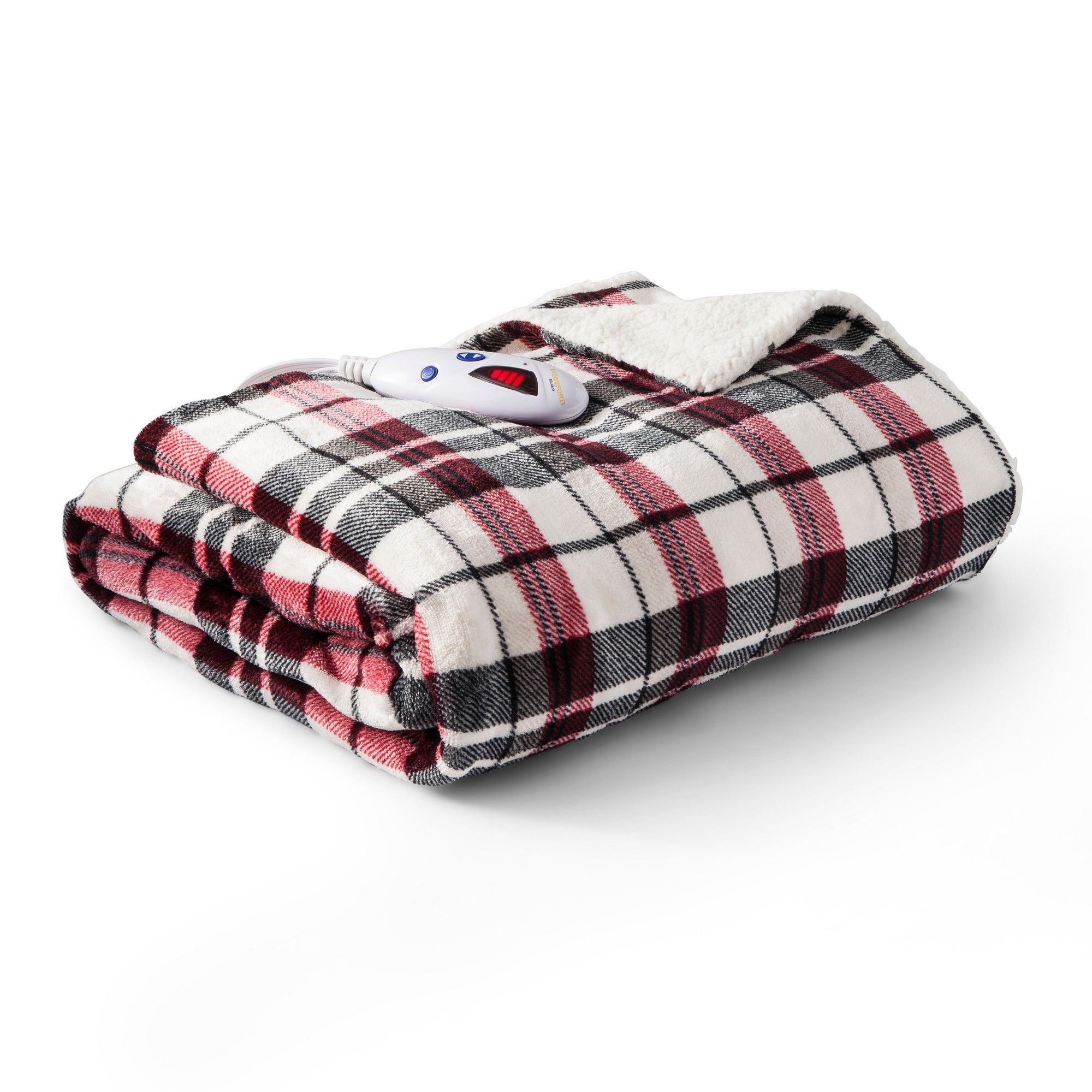 velour with sherpa plaid heated throw 62 x50 linen biddeford