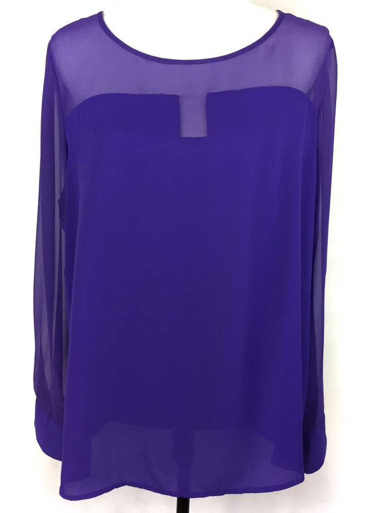 719acb23 METAPHOR Top XL Women's Purple Chiffon Trim Top Sheer Long Sleeve Keyhole  Scoop #Metaphor #Blouse #Any