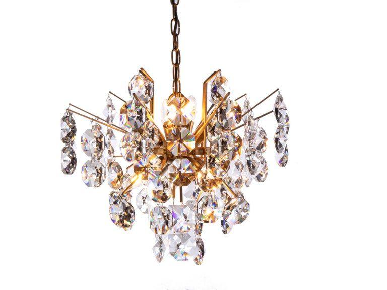 Hollywood regency gilt brass & crystal chandelier by Palwa, 1960s