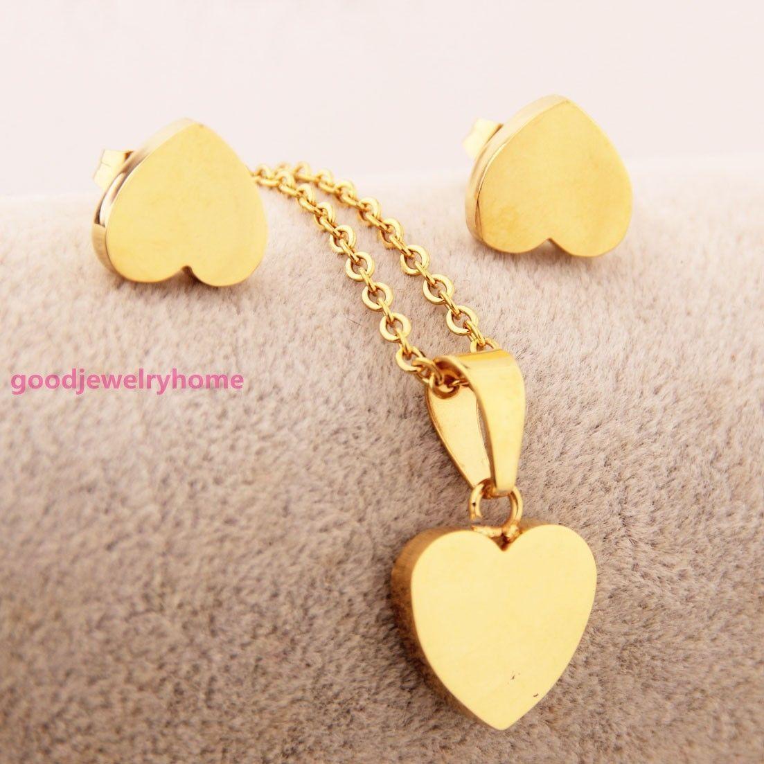 Womens stainless steel gold love heart pendant necklace earrings