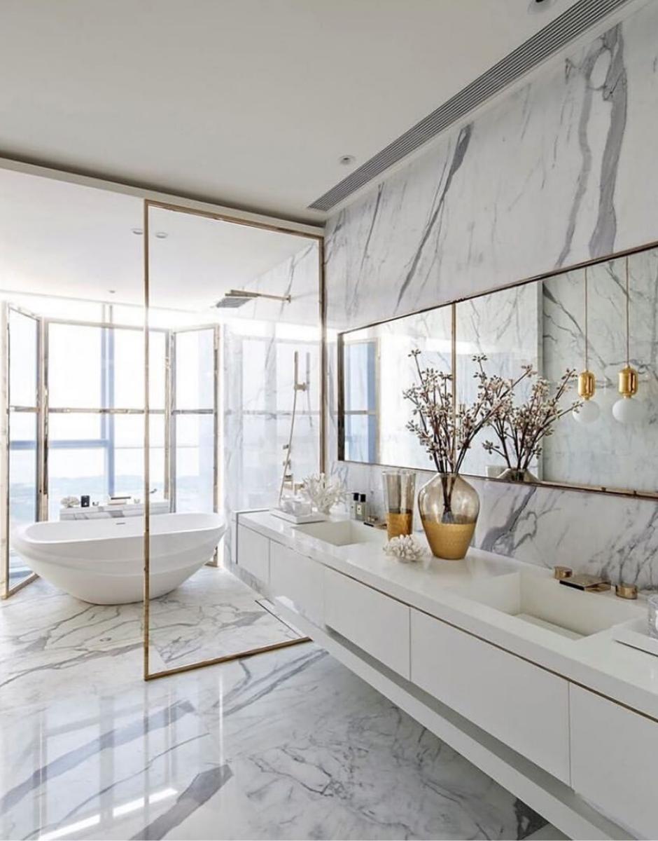Striking Marble Bathrooms in Luxury Interiors