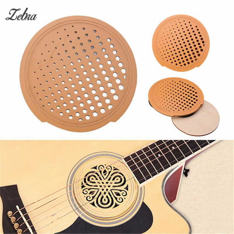 Zebra Solid Wood Guitar Sound Hole Cover Anti Whistle Mute Electric Box Fits Most Standard Dreadnought Acoustic Acoustic Guitar Parts Acoustic Guitar Acoustic