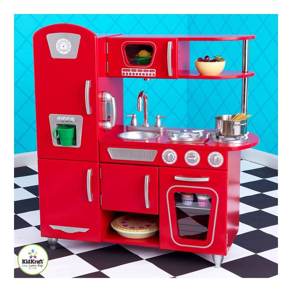 Kid Craft Retro Kitchen Cocina Estilo Retro Kidkraft Rojo Playroom Pinterest Walmart