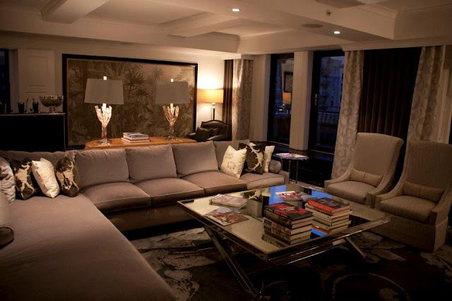 presidential suite at The Surrey, NYC  Love the mirrored coffee table