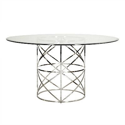 Anderson Dining Table Nickel Motif Design Nickel Finish And Round - Anderson round table