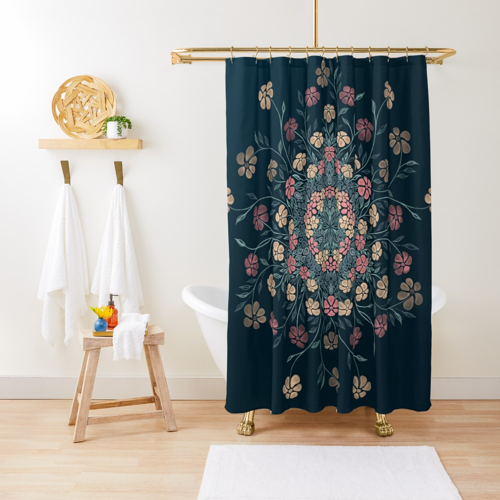 Pretty Pastels Dark Floral Shower Curtain By Ivaw Floral Shower
