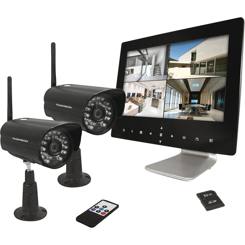 Kit De Videosurveillance Connecte Sans Fil Thomson Dvr423b Camera De Surveillance Leroy Merlin Camera Surveillance Video Surveillance Enregistreur