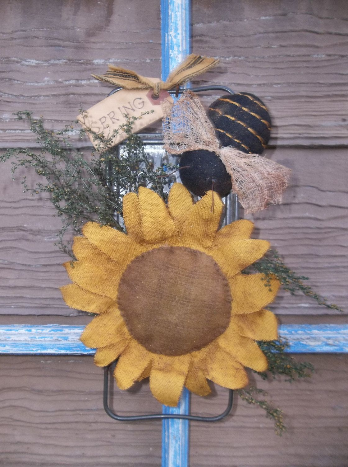 Primitive Make Do Sunflower And Bee On Old Vintage Tin Kitchen Grater