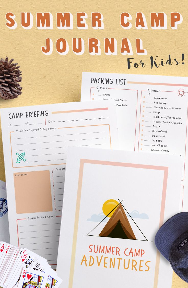 Kids Summer Camp Journal  Camp Stationery  Camp Notes  Fill In