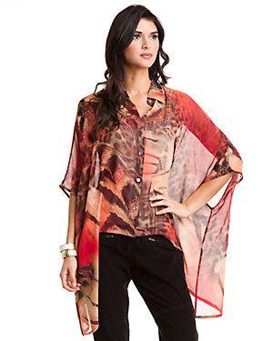 Da-Nang Red Multicolor Silk Poncho Blouse