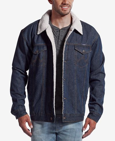 Wrangler Men S Western Jean Jacket With Faux Sherpa Lining