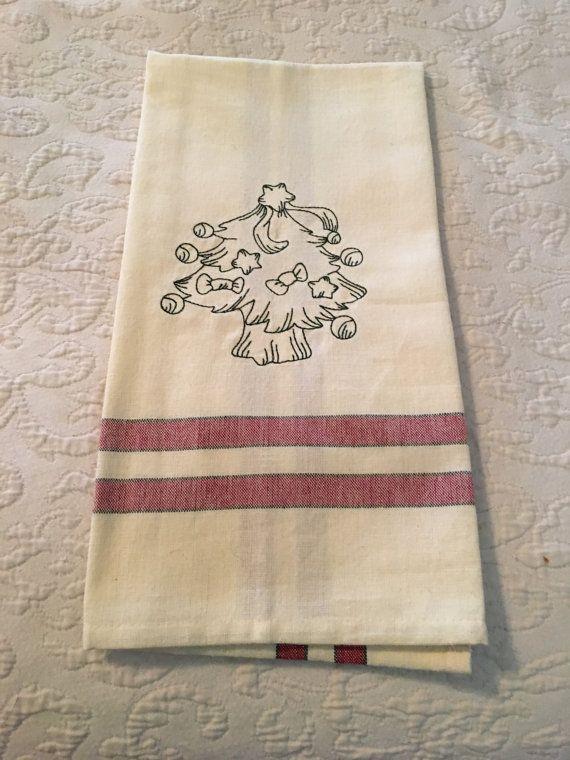 Embroidered christmas Tree Kitchen Tea Towel by KrasoskisKrafts