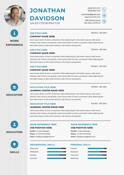 Cordova Combination Resume W Two Columns Resume Resume Template Word File