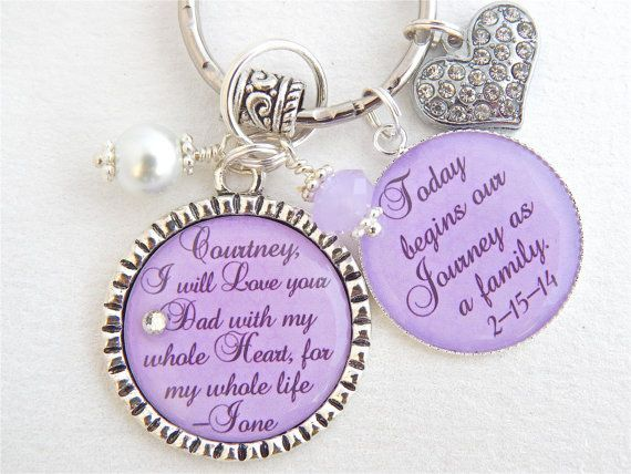 Wedding Quotes Step Daughter Gift Mother Purple Chram Necklace Keychain I Will Lov
