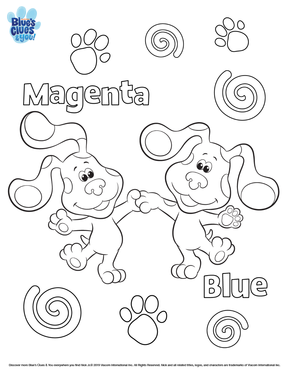 Blue S Clues You Printable Coloring Page Blues Clues Nick Jr Coloring Pages Blue S Clues
