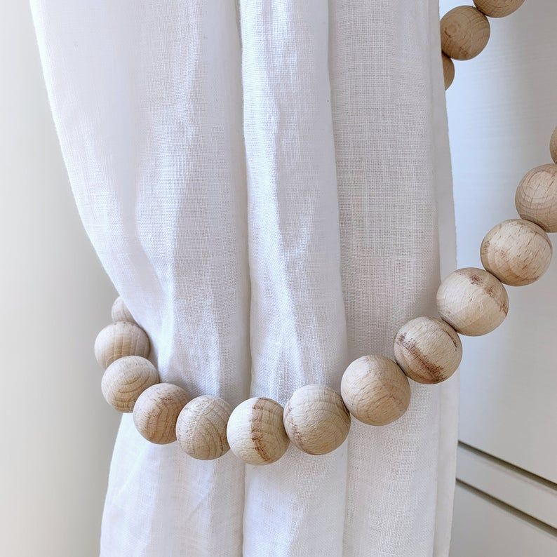 2 Hygge Curtain Ties With Farmhouse Beads Whitewashed Wooden Bead