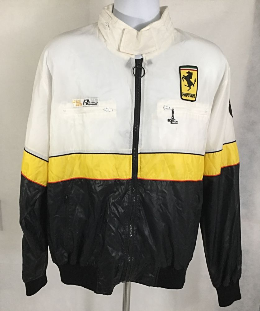 style auto racing vintage ferrari jacket size xl with hoodie black