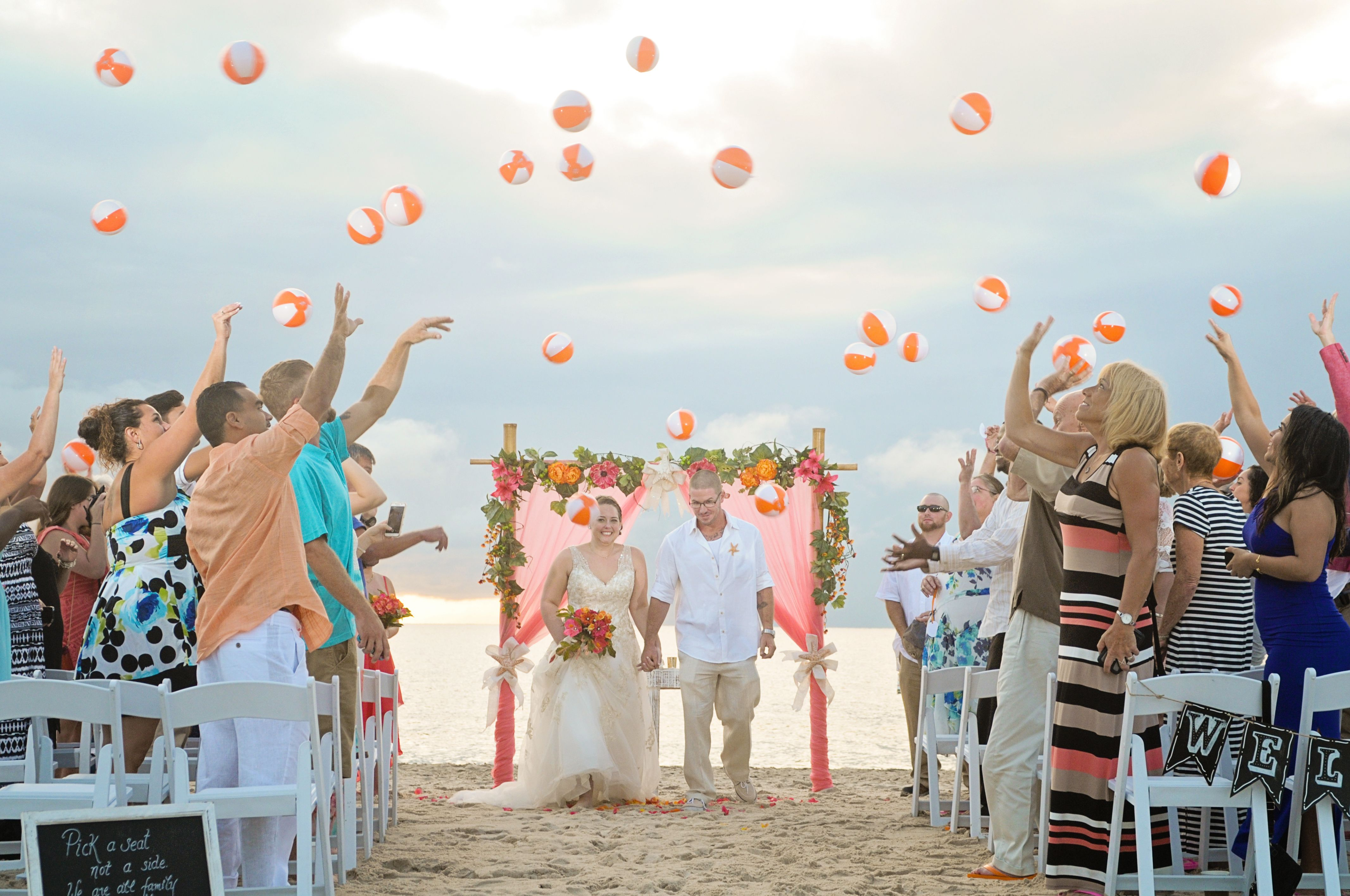 Congrats to Mary and Jason for their fun in the sung Pompano Beach North Ocean Park beach wedding. Photo by Mike Rice, http://www.mikericephotography.com/