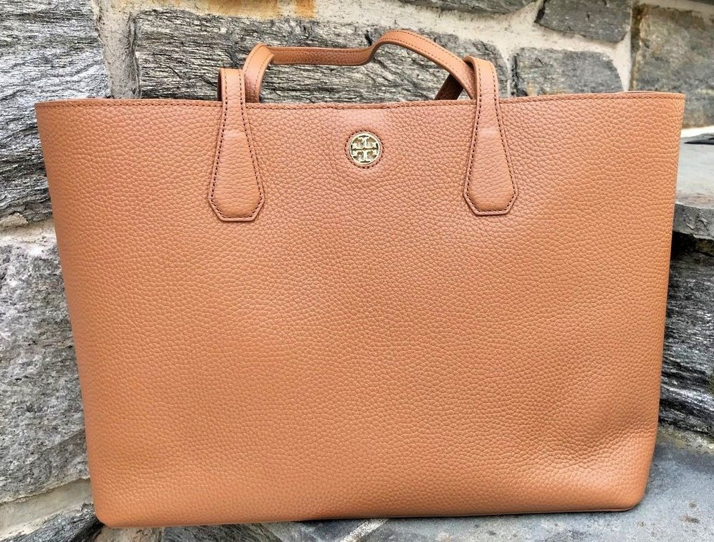 7f07d135d67a Tory Burch NEW Brody Tan Bark Light Gold Pebbled Leather Large Tote Bag   395  purses  fashion