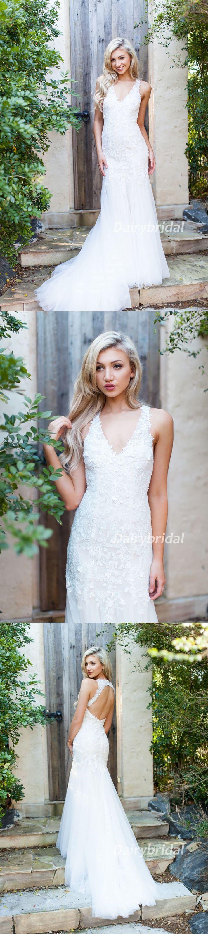 Lace wedding dress open back mermaid  Lace Wedding Dress Sleeveless Wedding Dress OpenBack Bridal Dress