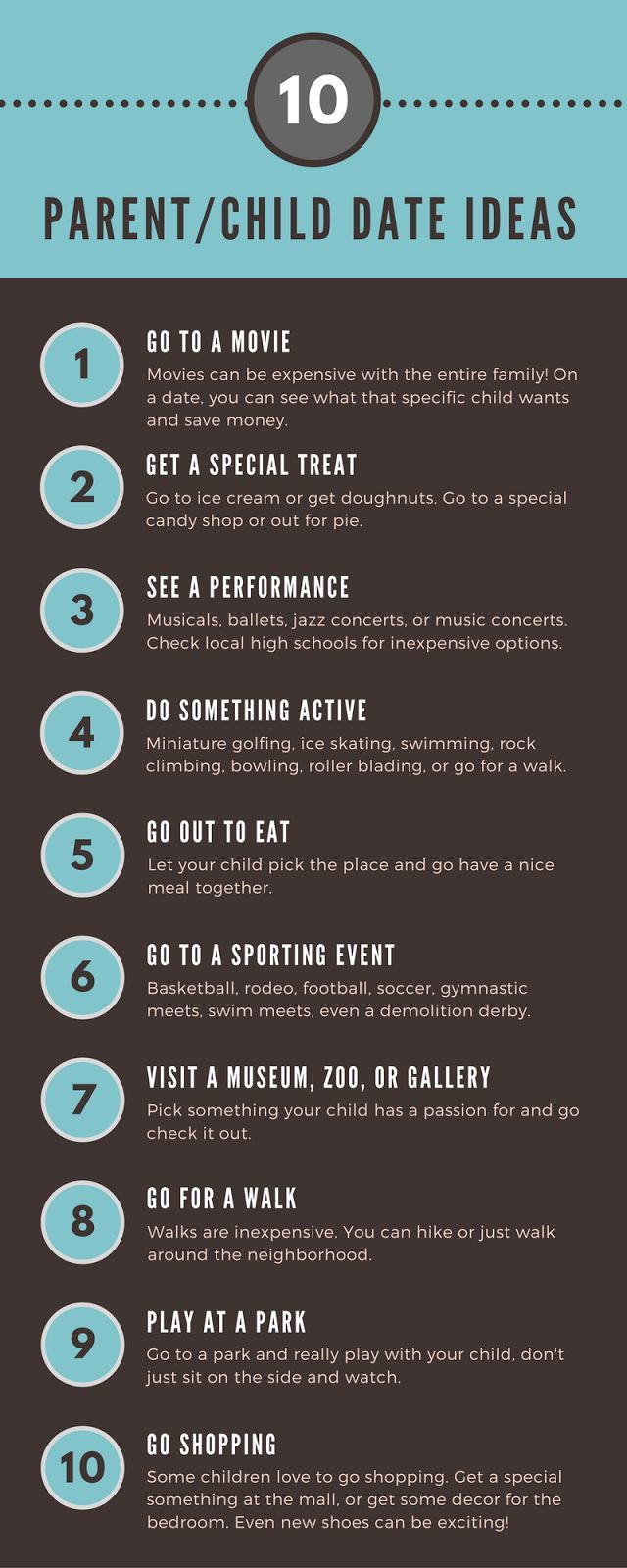 10 Parent/Child Date Ideas #parenting