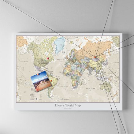 Personalised classic world map pinboard mounted framed personalised classic world map pinboard mounted framed gumiabroncs Gallery