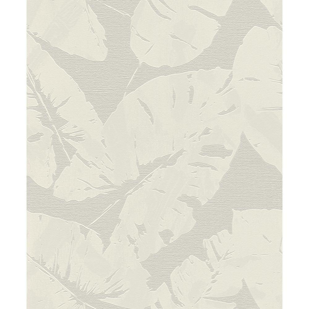 Advantage Shylock Light Grey Banana Leaf Wallpaper Sample