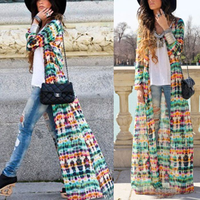 Details about Bohemian Womens Long Sleeve Maxi Long Chiffon ...