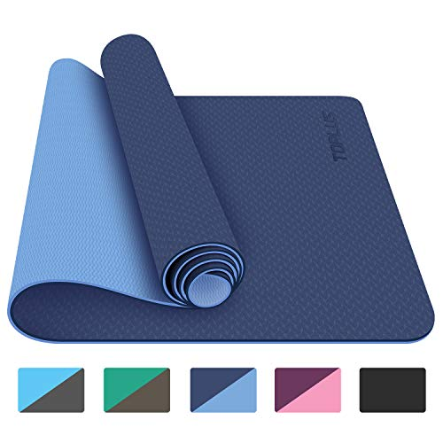 Amazon Com Toplus Yoga Mat 1 4 Inch Pro Yoga Mat Tpe Eco Friendly Non Slip Fitness Exercise Mat With Carrying St Yoga Mats Best Mat Exercises Floor Workouts