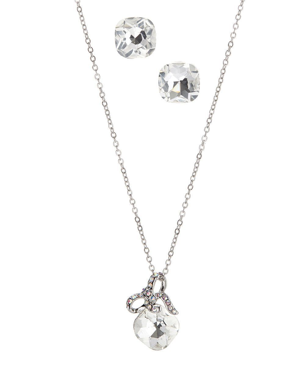 Crystal Bow Necklace Earring Set
