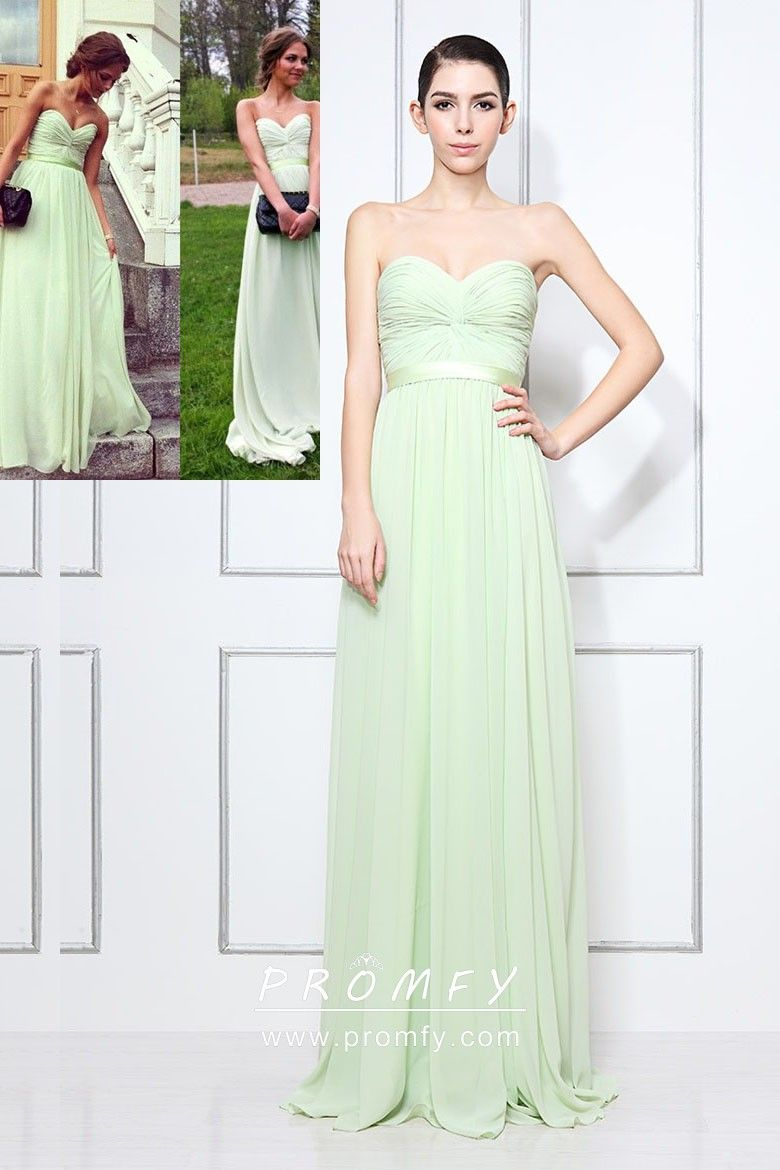 70d5683aa40b Strapless sweetheart pale green chiffon A-line long simple wedding guest  dress. Strapless pleated bodice with satin sash, empire waist.