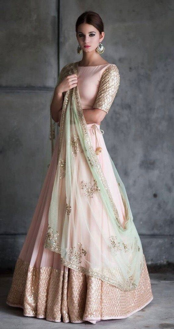 Peach and mint green lehenga blouse indian bridesmaid outfit indian designer lengha skirt blush peach wedding dress summer bridal wear #indiandesignerwear