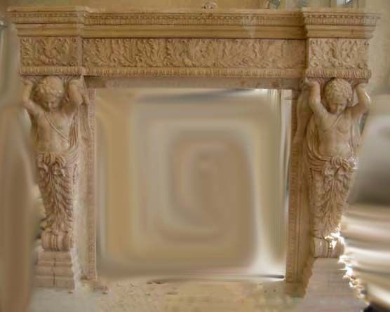 Ornate Marble Carved Fireplace Mantel Angel Cherubim   French ... aeb5b67992