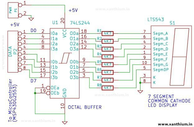 7 Segment Led Driver Circuit For Interfacing With Ft232 With