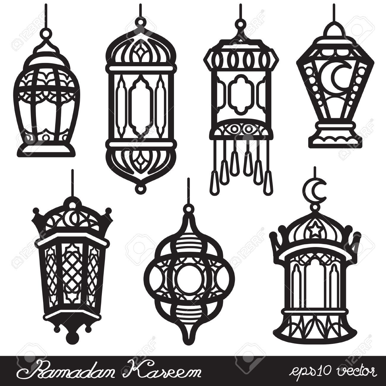 Ramadan Kareem Lantern Black Lantern Drawing Ramadan Lantern Art