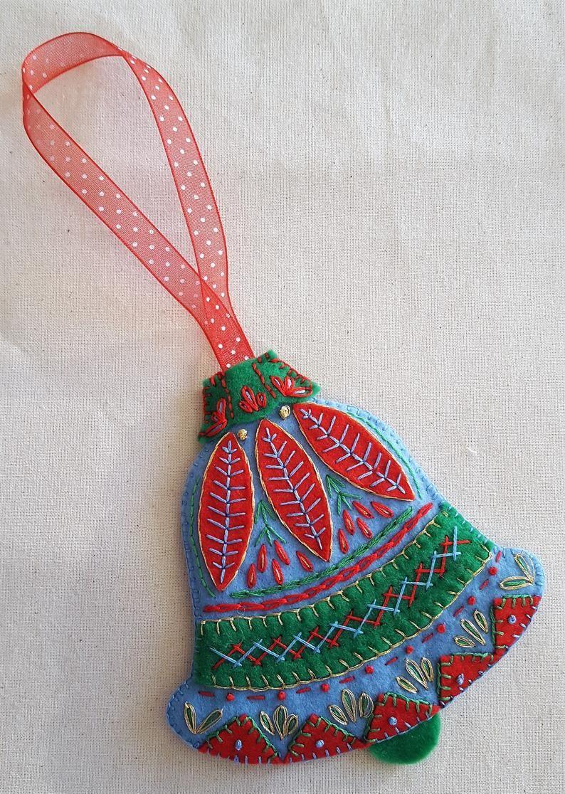 Hand Embroidered Felt Christmas Bauble Ornaments Etsy In 2021 Felt Christmas Christmas Baubles Hand Embroidered