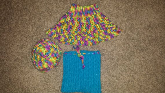 Hat skirt and poncho for 18 in. doll like by MesMeilleursAmis, $20.00