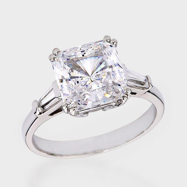 3.0 Ct. Princess Cut Baguette CZ Solitaire Engagement Ring