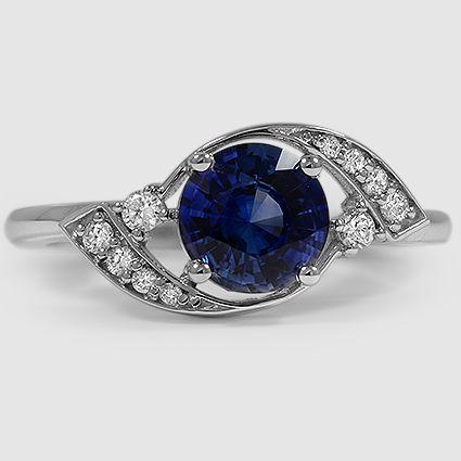 18K White Gold Iris Diamond Ring Set with 6.5mm Blue Round Sapphire (From Unique Colored Gemstone Gallery)  PRICE: $3,400